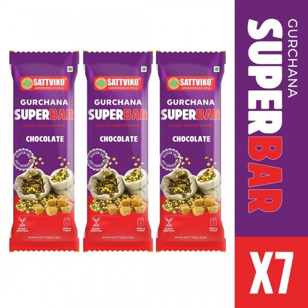 Sattviko Gur Chana Superbar Pack of 7 | High Natur...