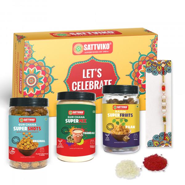 Sattviko Rakhi Gift Hamper - 2 Designer Rakhis wit...