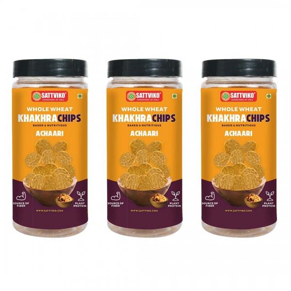 Sattviko Achari Khakhra Superchips Jar Pack of 3