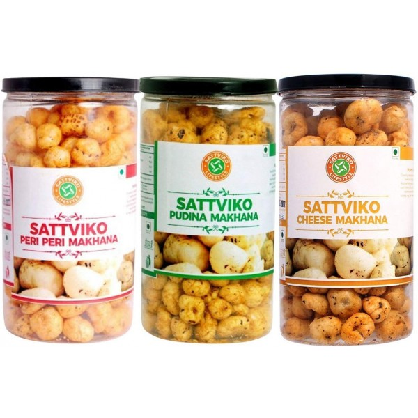 Sattviko Experience Box - All Jars Combo - (Baked Khakhra Chips -4 + Roasted Makhane -3 + Gur Chana + Premium Mouth Fresheners + Ajwaini Flax Seed)