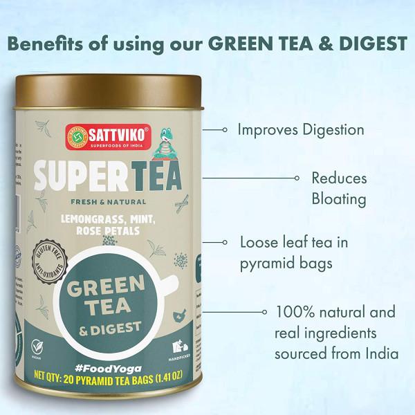 Green Tea Digest - Detox Digestive Tea | 3 Jars, 1.41 Oz Each, 4.23 Oz, 60 Pyramid Tea Bags (3x20)
