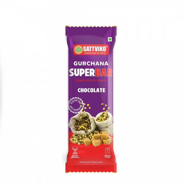 Sattviko Gur Chana Superbar Pack of 3 | High Natural Protein | Gram Flour, Jaggery, Oats, Almonds