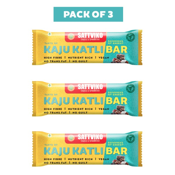 Sattviko Kaju Katli Bar Pack of 3 | Cashew Bar | N...