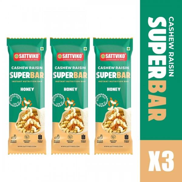 Sattviko Kaju Katli Superbar Pack of 3   Cashew Bar   Cashew, Oats, Raisin, Choco Chip