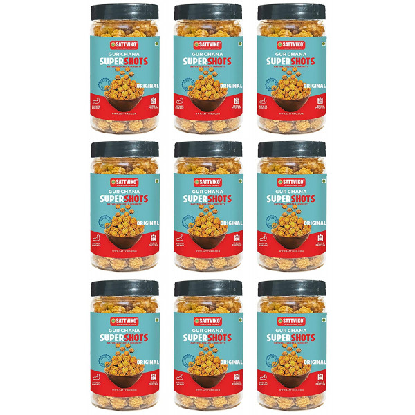 Sattviko Gur Chana - 9 Jars 90G Each | Jaggery Coated Chana | Immunity Booster