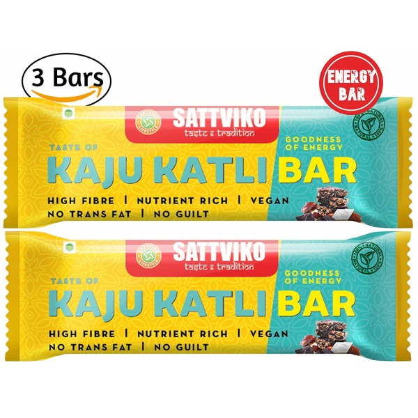 Sattviko Kaju Katli Bar Pack of 3 | Cashew Bar | C...