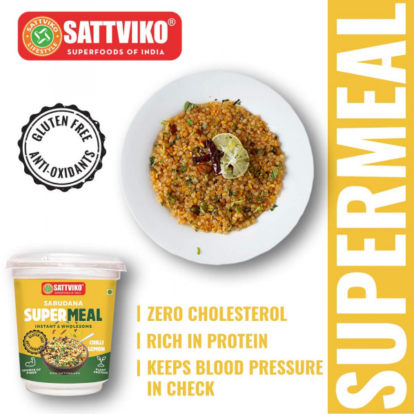 Sattviko Sabudana Supermeal Chilli Lemon 2 Cups with 4 Refills (65g Each)