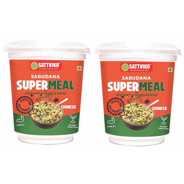 Sattviko Sabudana Supermeal Chinese 2 Cups, with 5 Extra Refills, 65 g Each ,455 g | Instant Breakfast Food | Gluten Free