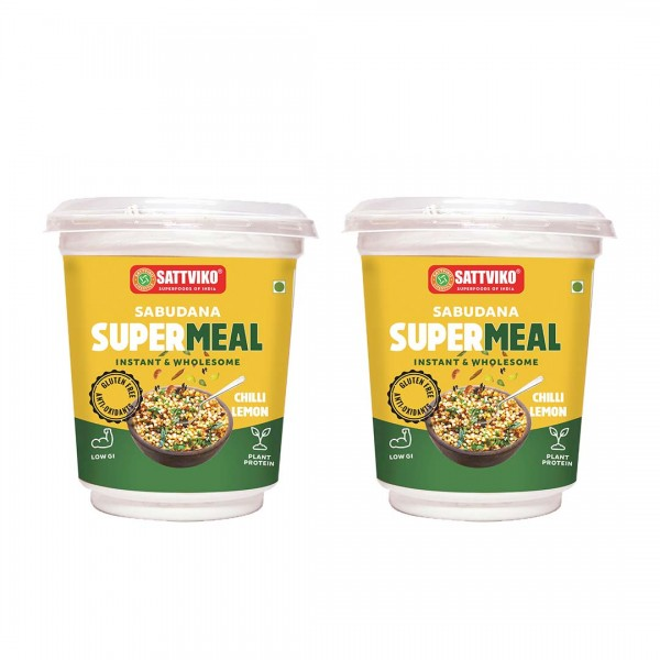 Sattviko Sabudana Supermeal Chilli Lemon 2 Cups wi...