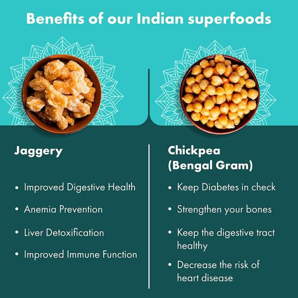 Sweet Chickpeas Snacks Veggie Crisps - 8 X 3.2 Oz Jar | Gur Chana | Foodyoga