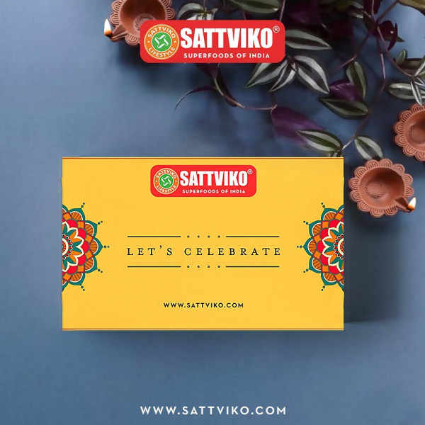 Sattviko Diwali Gift Box - Chocolate Gur Chana, Dry Mango, Peri Peri Makhana, 7X Cashew Raisin Superbar