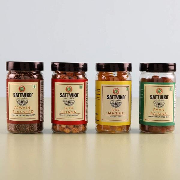 Sattviko Premium Gift Hamper | Diwali Gifts & Sweets | Festival Gifts | Gur Chana Jar, Dry Mango Jar, Paan Raisin, Ajwaini Flax Seed