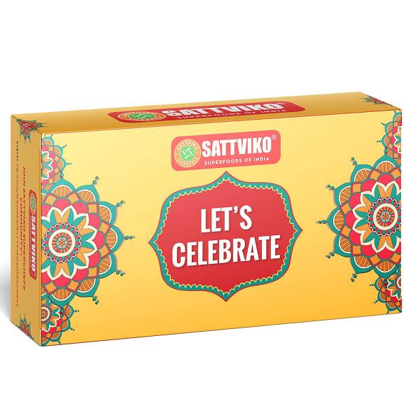 Sattviko Elite Rakhi Gift Hamper - 2 Artisan Crochet Rakhis with Roli & Moli + Gur Chana + Paan Raisin + Thandai