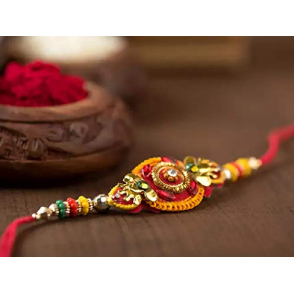 Sattviko Rakhi Gift Box - 2 Designer Rakhis with Roli + Gur Chana + Paan Raisin