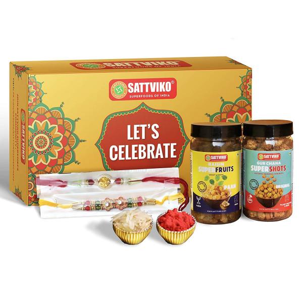 Sattviko Rakhi Gift Box - 2 Designer Rakhis with R...