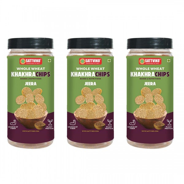 Sattviko Jeera Khakra Wheat Superchips Jar, 120g (...