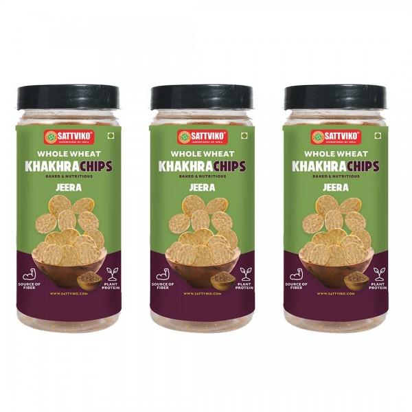 Sattviko Jeera Khakra Wheat Superchips Jar, 120g (Pack of 3)