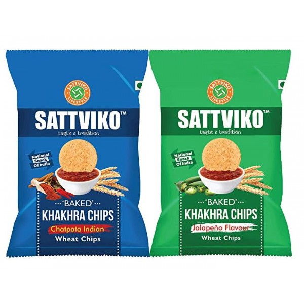 Sattviko Chatpata Indian & Jalapeno Khakhra Chips - Combo of 6 Pieces ( 3 Pieces of Both Flavour)