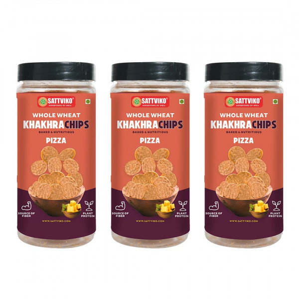 Sattviko Pizza Khakra Wheat Superchips Jar, 150g (Pack of 3)