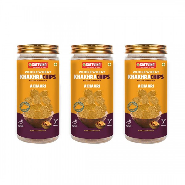 Sattviko Achari Khakhra Superchips Jar Pack of 3