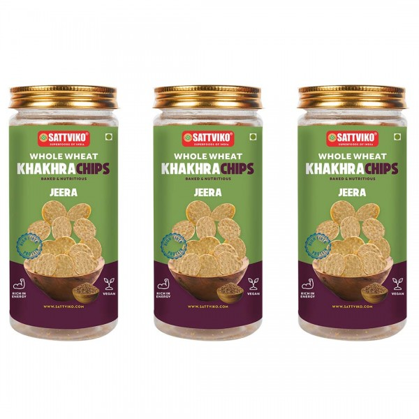 Sattviko Jeera Khakra Wheat Superchips Jar, 120g (...
