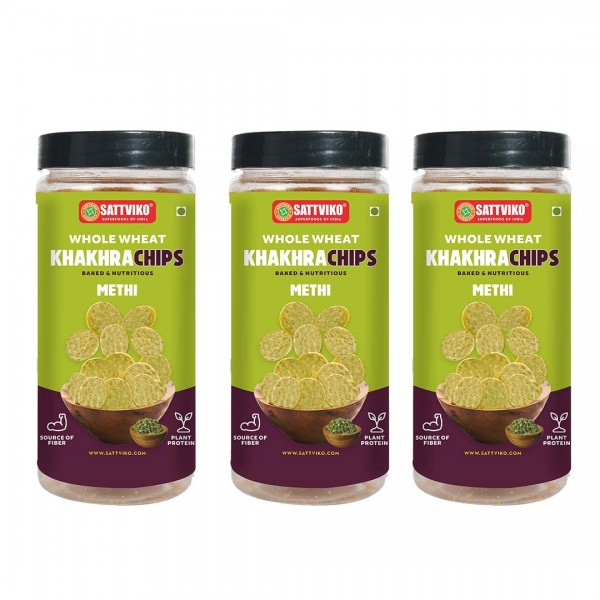 Sattviko Methi Khakra Wheat Superchips Jar, 120g (Pack of 3)