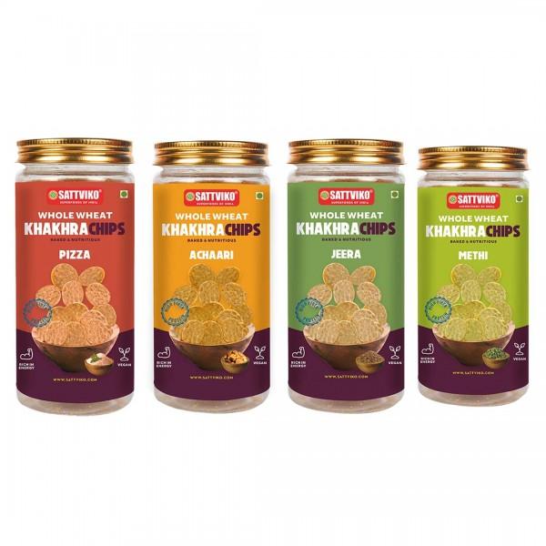 Sattviko Khakhra Chips Combo Jar | Baked Wheat Chi...
