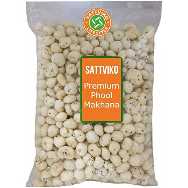 Sattviko Plain Phool Makhana - 450 g | High Quality Big Size Premium foxnuts | Lotus Seeds Pop, Vegan, Gluten Free | Hand Picked