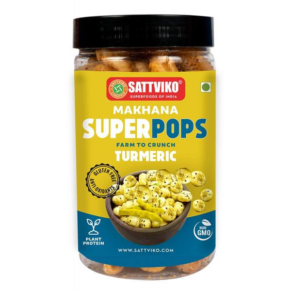 Sattviko Turmeric (Haldi) Makhana Superpops 2 Jars of 70 g Each, 140 g | Healthy Snack | Immunity Booster