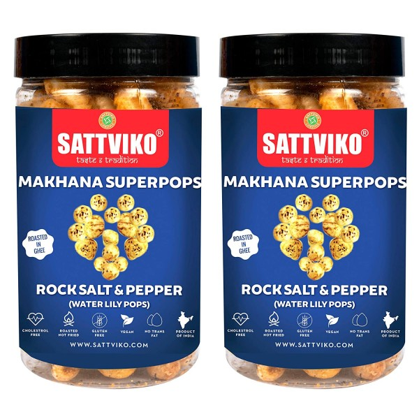 Sattviko Himalayan Pink Salt & Pepper Makhana Superpops | Fasting Makhana | Pack of 3 - 70 gm Each