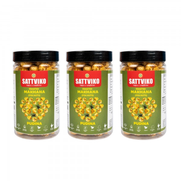 Sattviko Pudina Makhana (70gm per jar) - Pack of 3 Jars