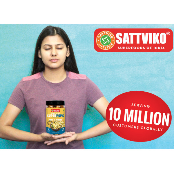Sattviko Roasted Makhana Combo - Peri Peri + Pudina + Turmeric, 70 gm each, 210 gm | Healthy Snacks