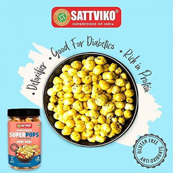 Sattviko Peri Peri Roasted Makhana Superpops Snack, 2 Jars, 70 G Each, 140 G | Healthy Indian Snack