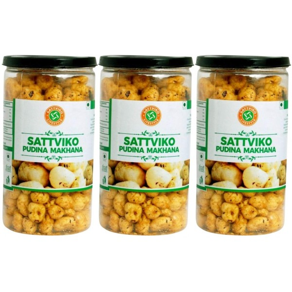 Sattviko Pudina Makhana (70gm per jar) - Pack of 3...