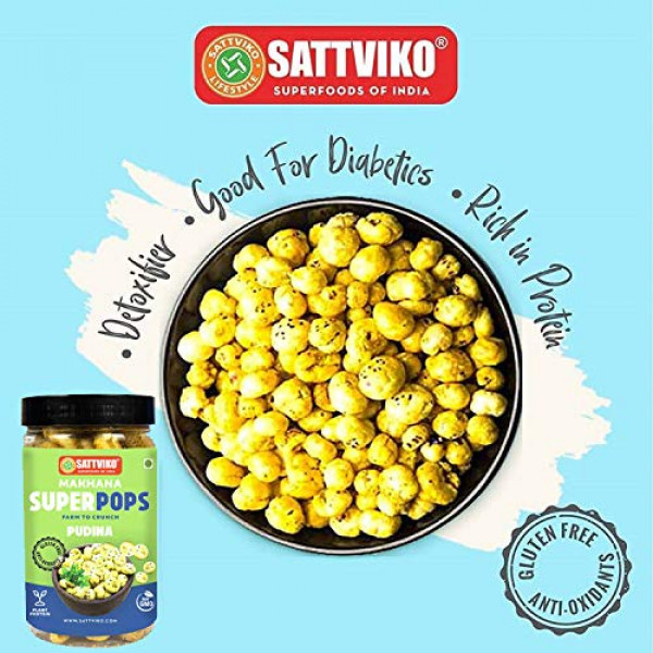 Sattviko Pudina Roasted Makhana 4 Jars 70 G Each, 280 g | Healthy Snacks