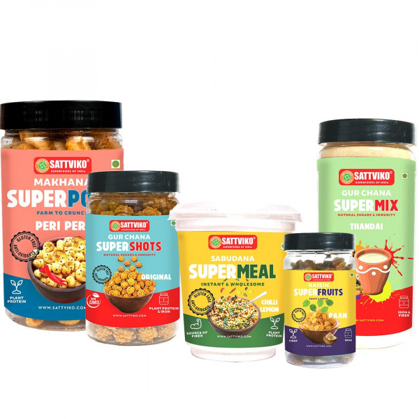 Sattviko Sampler Box - Gur Chana Supershots, Peri ...