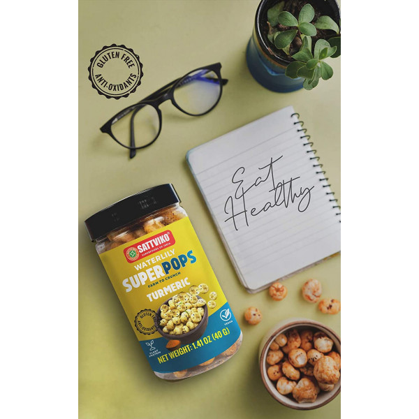Turmeric Water Lily Superpops Healthy Snacks, 3 Jars Of 2.47 Oz Each, 7.41 Oz   Foodyoga