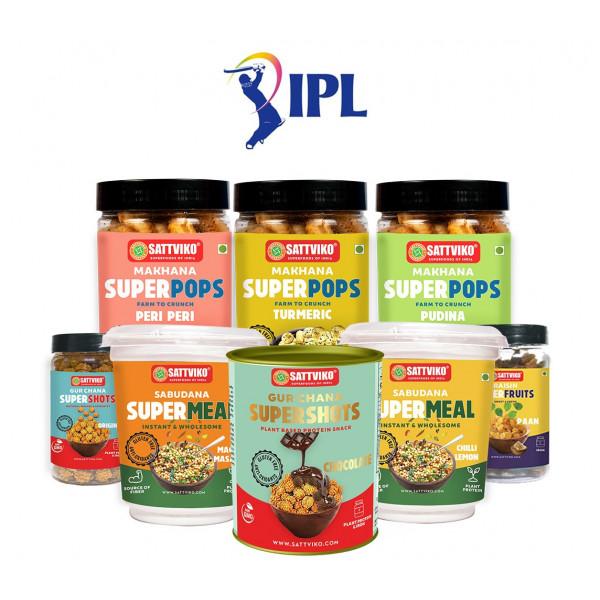 Sattviko Exclusive IPL Gift Box - All Product Combo - (Roasted Makhane -3 + Gur Chana + Paan Raisin + Supermeal - 2 + Chocolate Gur Chana)