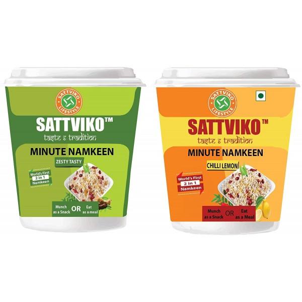 Sattviko Minute Namkeen (Sabudana Meal) Combo - Chili Lemon & Zesty Tasty Cups with 4 Refills Each