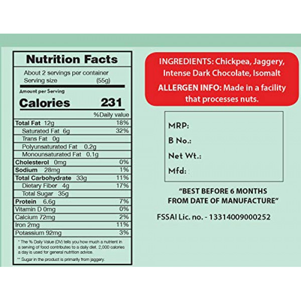 Chocolate Sweet Chickpeas Snacks - Healthy Chocolate - 5.64 Oz | Foodyoga