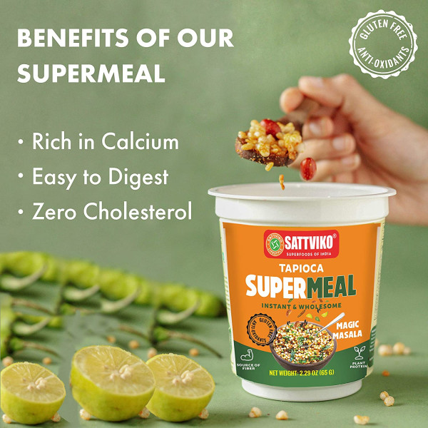 Instant Tapioca (Sabudana) Supermeal Magic Masala Flavor - Gut Care | Instant Meals | Foodyoga 4 Cups (2.47 oz Each)