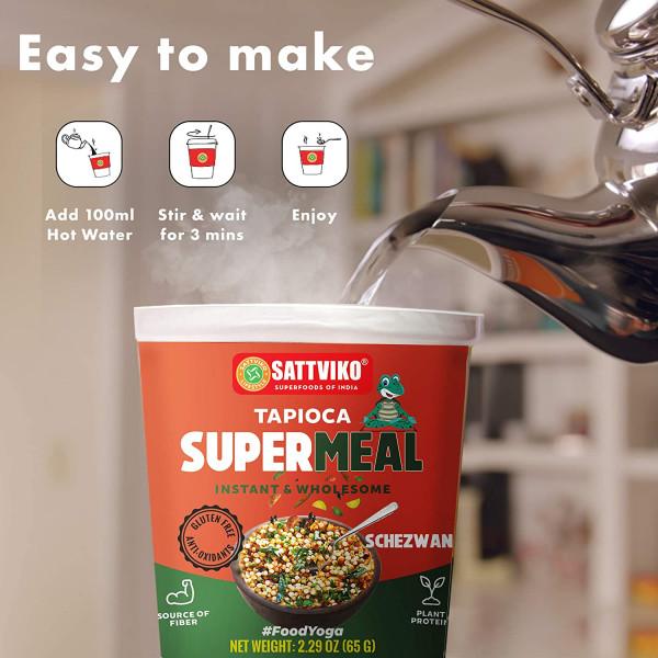 Instant Tapioca (Sabudana) Supermeal Schezwan Flavor - Gut Care | Instant Meals | Foodyoga 4 Cups (2.47 oz Each)
